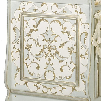 french panel verona crib by art for kids - gold, reef, linen