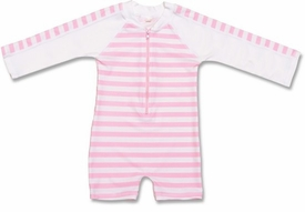 french pink stripe long sleeve sunsuit