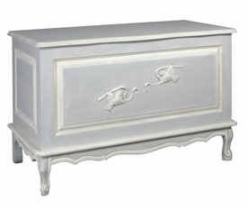 french toy chest  (washed powder  blue & white trim)