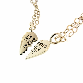 friendship necklaces 14k heart