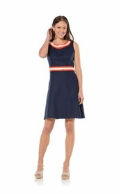 fringe in fit and flare dress - navy