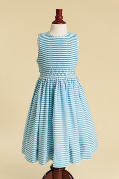fully smocked bodice dress in turquoise