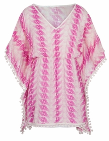 fushia feather print kaftan by snapper rock