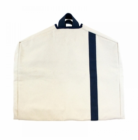 garment bag - natural with navy stripe