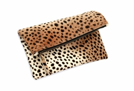 Genuine Calf Hair Leopard Foldover Clutch