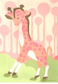 gigi giraffe pink wall art canvas reproduction