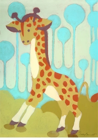 gigi giraffe wall art canvas reproduction