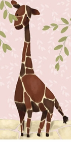 gillespie giraffe on powder pink wall art canvas reproduction