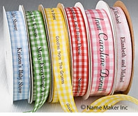 Gingham Personalized Printed Ribbons