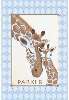 giraffe family cool water personalized wall hanging