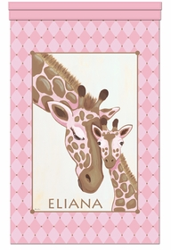 giraffe family pink love personalized wall hanging
