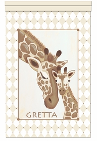 giraffe family savannah sand personalized wall hanging