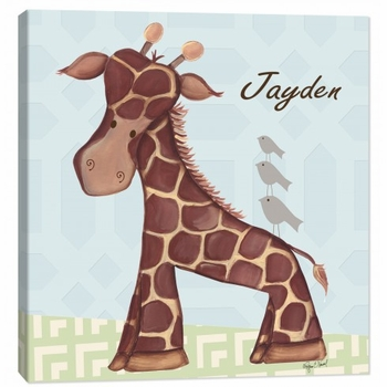 giraffe wall art - blue
