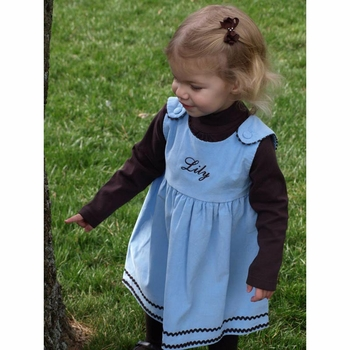 girl's dress corduroy light blue with brown ric rac