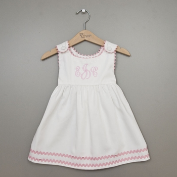 girl's dress with ric rac trim - white with light pink trim