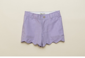 girls chambray scalloped shorts - lavender