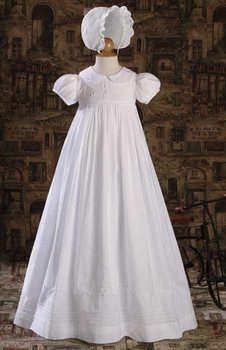 girls christening gown with embroidery