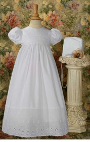 girls christening gown with lace border