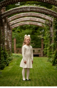 girls cream cable knit sweater dress
