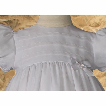 girls organza christening gown with lace & pin tucking