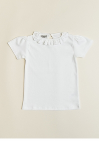 girls ruffle collar short sleeve pima shirt