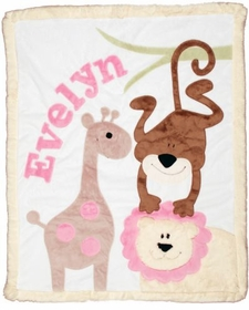 girls safari baby blanket