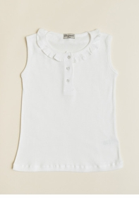 girls sleeveless tank with ruffle collar