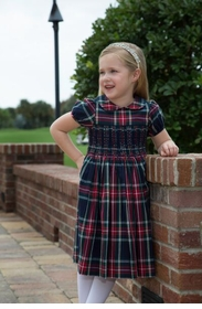 girls smocked plaid cotton dress
