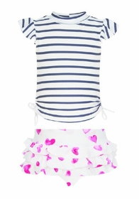 girls stripe heart ruffle swim set