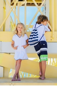 girls towelling dress - white and navy
