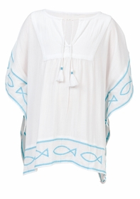 girls white aqua fish tunic kaftan