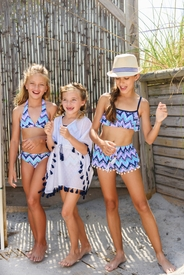 girls white navy tassel batwing kaftan
