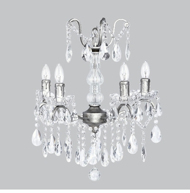 glass center chandelier pewter