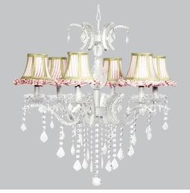 glitz chandelier - pink ruffled shades green trim