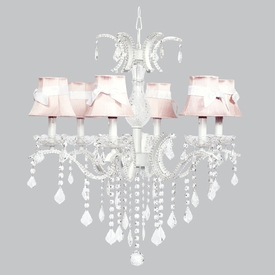 glitz chandelier - pink shades white sashes