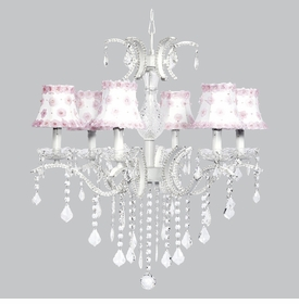 glitz chandelier - pink white petal flower shades