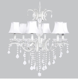 glitz chandelier - white silk shades