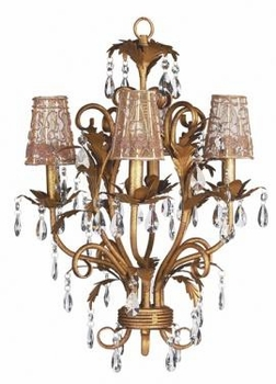 gold 4 arm mackenzie chandelier w/taupe sconce shades
