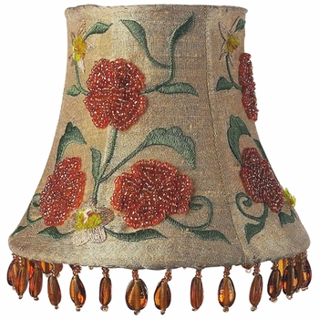 gold beaded embroidery chandelier shade