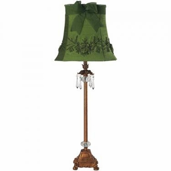 gold crystal dangle lamp-green floral bouquet shade