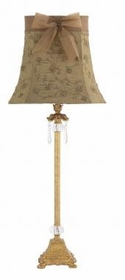 gold crystal dangle lamp-khaki sequin embroidery shade
