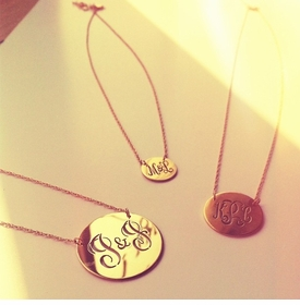 gold disc cut out monogram necklace