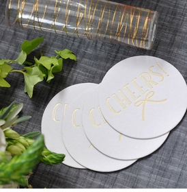 Gold Foil Stamped Bow Coasters