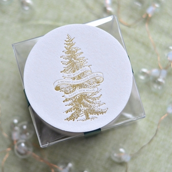 Gold Foil Stamped Tree Coasters