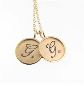 gold initial charms with diamonds