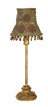 gold leaf scroll lamp base-small