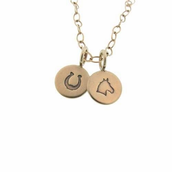 "gold necklace with two 3/8"" gold charms"