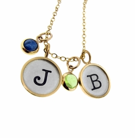 gold rimmed charm necklace