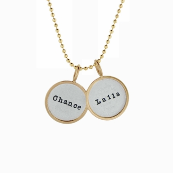 gold rimmed name charm necklace