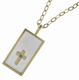 gold rimmed rectangle w cross & diamond